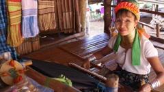 Ethnic Long-Neck Woman of Karen Tribe, Giraffe Women - stock footage