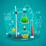 Chemical Laboratory Workspace Design Concept Stock Illustration