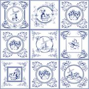 Famous delft blue tiles icons collection Stock Illustration