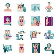 Plastic surgery flat icons set Stock Illustration