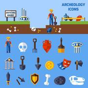 Archeology Icons  Set Piirros