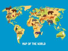 Animals World Map - stock illustration