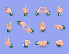 Icon Set Of Hand Gestures - stock illustration