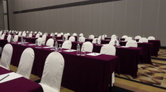 Empty conference hall with chairs and tables, stationeries, mineral waters. 4k v Stock Footage