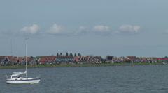 Volendam harbor traditional old dutch fishing village - stock footage
