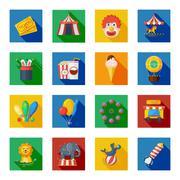 Circus icons flat - stock illustration
