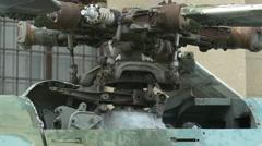 Rotor mast and main rotor blades at Polish Army Museum, Warsaw Stock Footage
