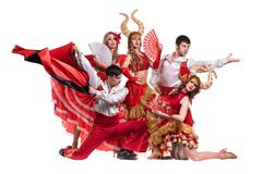 Cabaret dancer team dancing.  Isolated on white background in full length - stock photo