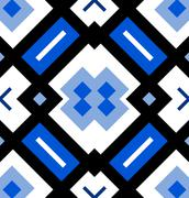 Ornamental seamless pattern or background in blue, black and white - stock illustration