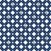 Geometric seamless pattern with anchors - stock illustration