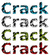 Stock Illustration of word CRACK isolated on white in four colored variations