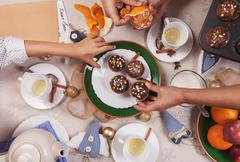 Christmass time tea party with homemade muffins - stock photo