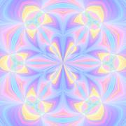Seamless kaleidoscopic pattern in pastel colors - stock illustration