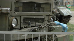 Front part of a military truck at Polish Army Museum, Warsaw - stock footage