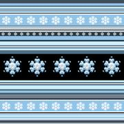 Winter seamless pattern - striped with snowflake motif in blue Stock Illustration