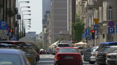 Driving cars on a street in Warsaw Stock Footage