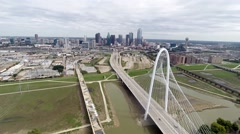 Margaret Hunt Hill Bridge - Aerial Time Lapse Stock Footage
