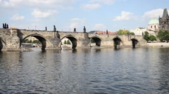 View from the boat of Prague - Czech Stock Footage