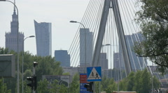 Holy Cross cable bridge, Palac Kultury i Nauki and other buildings, Warsaw Stock Footage