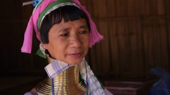 Long-necked Tribe Woman in Karen Village in Northern Thailand Stock Footage