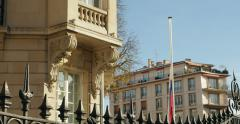 Russian embassy flag half-mast to pay tribute Stock Footage
