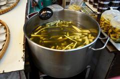 Bamboo shoot boil with Wildbetal Leafbush or Bai ya nang - stock photo