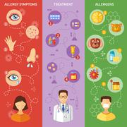 Allergy Symptoms Vertical Banners - stock illustration