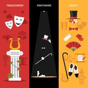 Theatre Performance Banners Set - stock illustration