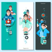 Banners Set Of Doctor Characters - stock illustration