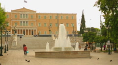 Many people walking in historical and social center of Athens, Syntagma Square Stock Footage