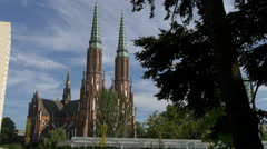 Cathedral of St. Michael the Archangel and St. Florian the Martyr in Warsaw Stock Footage
