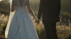 Young bride and groom at sunset holding hands Stock Footage