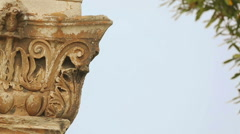 Beautiful ornamented Corinthian capitals crowning pilasters of Hadrian's Gate Stock Footage