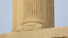 Ancient pilaster, Corinthian capitals decorated with moulding, Hadrian's Gate Stock Footage