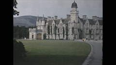 Vintage 16mm film, 1965, Scotland, Balmoral Castle, the royal home Stock Footage