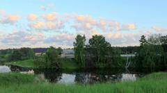 Sunset on the river Ushakovka. Ushakovа village, Tyumen region, Russia Stock Footage