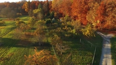 Aerial shot of autumn landscape in Southern Germany Stock Footage