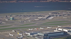 Great International Airport, view from the mountain. Stock Footage