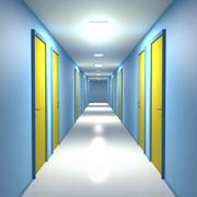 Corridor with closed doors Stock Illustration