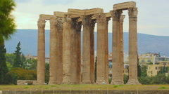 Ruins of Temple of Olympian Zeus in Athens, popular tourist attraction in Greece Stock Footage