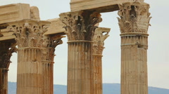 Grand panorama view of capitals and architraves on top of columns, Zeus temple Stock Footage