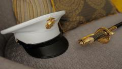 Marine Hat and Sword - stock footage