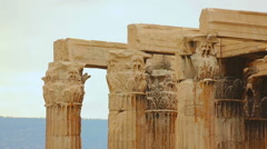 Corinthian capitals and architraves on top of Columns of Olympian Zeus, Athens Stock Footage