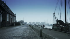 Harbor in the fog. Marken, The Netherlands Stock Footage