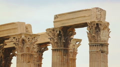 Huge columns of Zeus Temple dedicated to king of Olympian gods in Athens, Greece Stock Footage