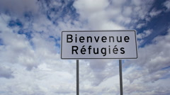 Sign Refugees Welcome French Timelapse - stock footage