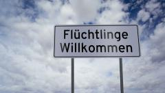 Sign Refugees Welcome German Timelapse - stock footage