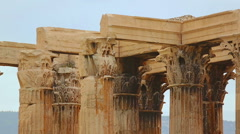 Centuries old temple remains, marble columns with ornamented capitals on top Stock Footage