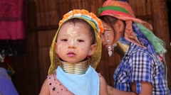 Asian Ethnic Kid. Karen Tribal Child in Long Neck Hill Tribe Village Stock Footage