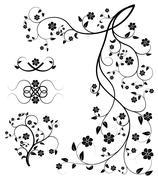 Set of floral decorative elements Stock Illustration